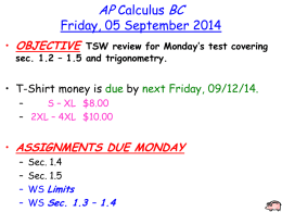 AP Calculus BC – Chapter 1 Test Topics