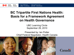 BC Tripartite First Nations Health Plan: Basis for a