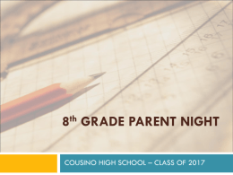 8th GRADE PARENT NIGHT - Warren Consolidated Schools