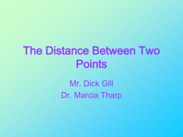 The Distance Between Two Points