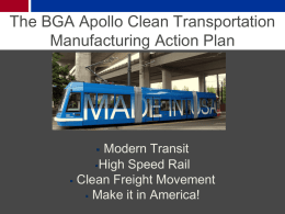 The BGA Apollo Clean Transportation Manufacturing Action Plan