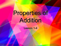 Properties of Addition - Mrs. McDavid's 3rd Grade Website