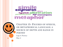 Chapter 15- Figures of speech, or metaphorical language: a