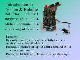 Introduction to Vision and Robotics