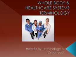 WHOLE BODY & HEALTHCARE SYSTEMS TERMINOLOGY