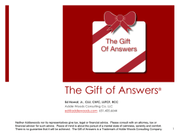 The Gift of Answers