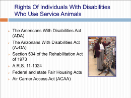 RIGHTS OF INDIVIDUALS WITH DISABILITIES WHO USE …