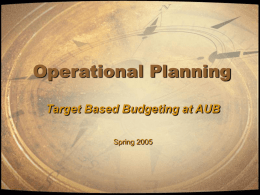 Operational Planning - American University of Beirut