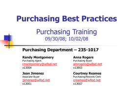 Best Practice for Purchasing