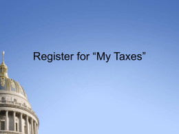 "Register for ""My Taxes"""