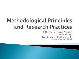 Methodological Principles and Research Practices