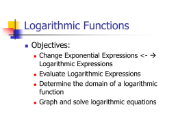 Logarithmic Functions - Decatur Community Schools