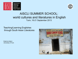 AISCLI SUMMER SCHOOL: world cultures and literatures in