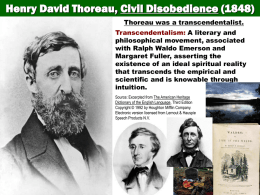 Thoreau -Main Points