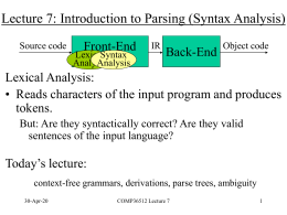 Lecture 4: Lexical Analysis II: From REs to DFAs