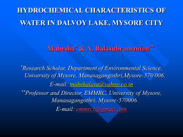 HYDROCHEMICAL CHARACTERISTICS OF WATER IN DALVOY …