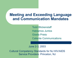 Language and Communication Mandates