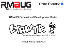 Firmware - Rocky Mountain Avaya User's Group