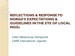 Local NGOs/CBOs reflections and response to Norad's
