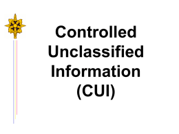 Controlled Unclassified Information (CUI)
