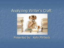 Examining Writer's Craft