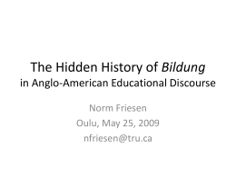 The Hidden History of Bildung in Anglo