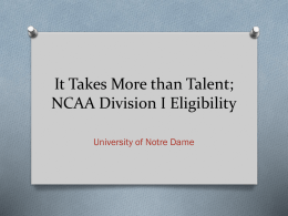 Expectations of an NCAA Division I Student