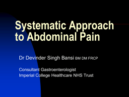 Systematic Approach to Abdominal Pain