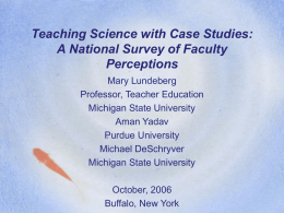Teaching Science with Case Studies: A National Survey of