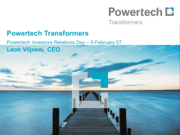 Powertech Transformers Powertech Investors Relations Day
