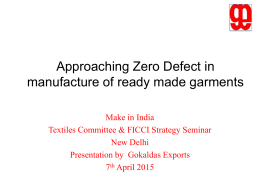 Zero Defect Strategy - Ministry of Textiles