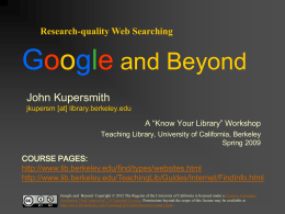 Google and Beyond slides - Welcome to UC Berkeley Library