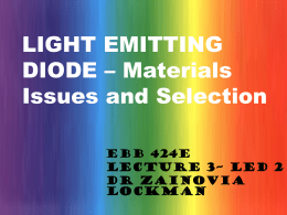 LIGHT EMITTING DIODE – Materials Issues and Selection