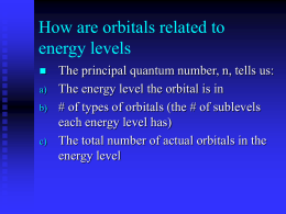 How are orbitals related to energy levels