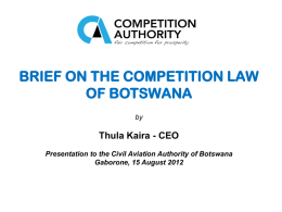 BOTSWANA COMPETITION BILL
