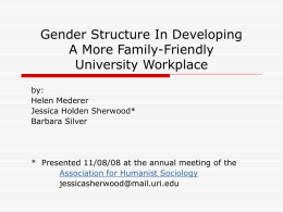 Gender Structure In Developing A More Family