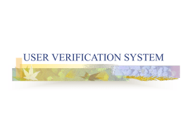 USER VERIFICATION SYSTEM