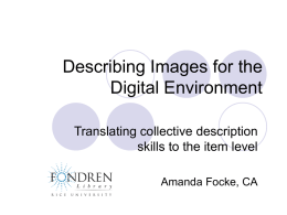 Describing Images for the Digital Environment