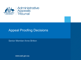 Appeal Proofing Decisions - COAT | Council of Australasian
