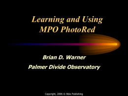 Learning and Using MPO PhotoRed