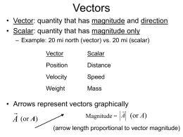 Vectors and 2D Motion - Ohio Wesleyan University