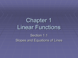 Chapter 1 Linear Functions - Shelton State Community College