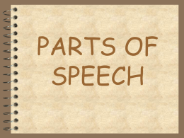 PARTS OF SPEECH - Oak Ridge High School
