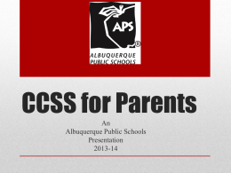 CCSS for Parents - Albuquerque Public Schools