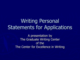 Writing Personal Statements for Applications
