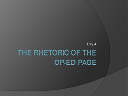 The Rhetoric of the OP-ED Page