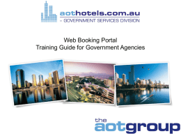 Web Booking PortalTraining Guide for