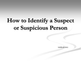 How to Identify a Suspect or Suspicious Person