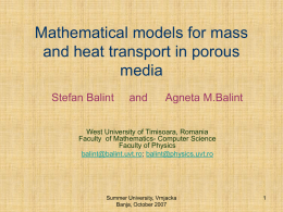 Mathematical models for mass and heat transport in porous