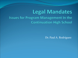 Legal Mandates Issues for Program Management In the